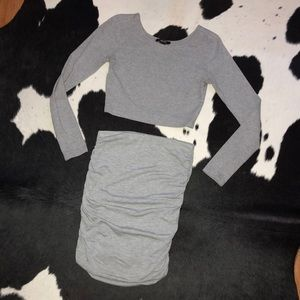 Gray long sleeve crop top & fitted skirt set